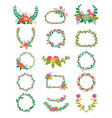 wreath wreathed flowers and floral vector image