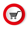 shopping cart red circle web glossy icon vector image