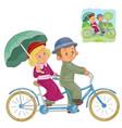 small children in the period costume riding vector image