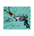 Scuba Divers and Sharks vector image