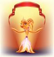 goldfish and red ribbon vector image vector image
