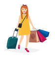 Girl standing with travel bag holding passport and vector image