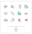 Baby Line Icons Set vector image