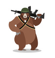 Military Bear with rifle Grizzlies with gun Wild vector image