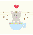 sweet pastel cat smiling in a coffee cup vector image