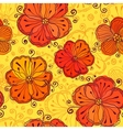 Orange doodle flowers seamless pattern vector image vector image