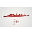 Tokyo skyline in red vector image