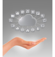 Cloud storage concept background with a hand vector image