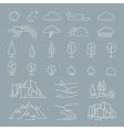 Nature landscape elements icons vector image vector image