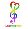 Love peace and music isolated on white vector image vector image