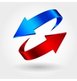 Red and blue arrows are moving towards vector image vector image