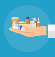 different medical pills and bottles in hand vector image