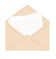 letter in open beige envelope vector image