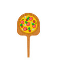pizza on a wooden shovel for a stove traditional vector image
