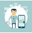 programmer works in a mobile phone vector image