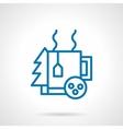 Simple blue line winter tea icon vector image