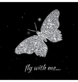 Silver butterfly Luxury vector image