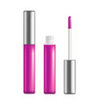 realistic detailed pink lip gloss set open and vector image