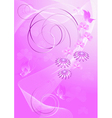 Purple background with flowers and butterflies vector image