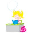 schoolgirl reading a textbook vector image vector image