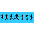 cartoon silhouette of a running woman vector image