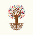 hand print tree for community help vector image