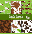 Set of seamless patterns with cow and skin vector image