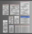 transparent plastic pocket bags collection vector image