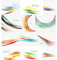 set of blurred smooth color waves on white vector image vector image