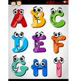 Funny letters alphabet cartoon vector image