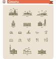 Croatia travel icon set vector image vector image