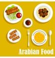 Arabian dishes with kebab falafels halva icon vector image