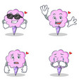 cotton candy character set with cool waving afraid vector image