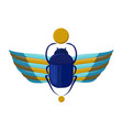 egyptian bug-beetle with wings symbolism of vector image
