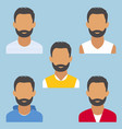 set of man portrait beard various and modern vector image