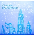 Oil rig and pump over snowfall vector image vector image