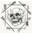 Sketch smoke skull and arrows frame vector image
