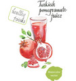 turkish pomegranate juice watercolor vector image