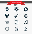 multimedia icons set collection of lyre vector image