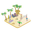 isometric people on tropical beach concept vector image
