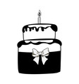 Birthday black cake on white background vector image