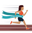 colorful background with woman athlete running in vector image