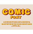 Comic font Bang alphabet Bright cartoon ABC yellow vector image