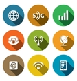 Communication and connection flat icons set vector image