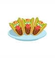 Crispy Taco Traditional Mexican Cuisine Dish Food vector image