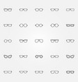 glasses icons set eyeglasses outline vector image