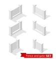 Isometric fence and gate constructor vector image
