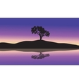 landscape with silhouette of a single tree vector image