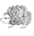 little hedgehog for coloring vector image vector image