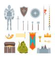 cartoon symbol of mediaeval color icons set vector image